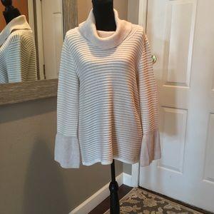 Calvin Klein Stripe Lurex Cowl Neck Sweater